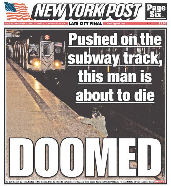 Σάλος για πρωτοσέλιδο της New York Post με άνδρα δευτερόλεπτα πριν τον πατήσει το μετρό