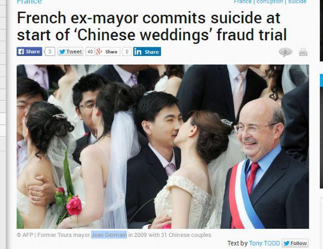 Γαλλία: Αυτοκτόνησε πρώην δήμαρχος για το σκάνδαλο των «κινεζικών γάμων»
