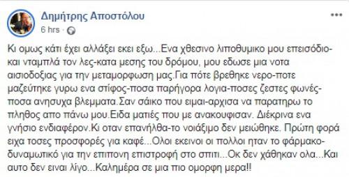 Λιποθύμησε ξαφνικά στον δρόμο ο Δημήτρης Αποστόλου