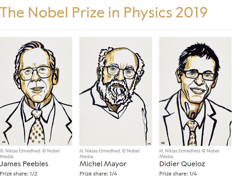 Νόμπελ Φυσικής 2019 : Σε τρεις επιστήμονες για τις ανακαλύψεις τους στην κοσμολογία