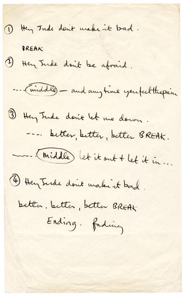 Οι στίχοι του Hey Jude των Beatles διά χειρός Μακάρτνεϊ πουλήθηκαν έναντι 910.000 δολαρίων