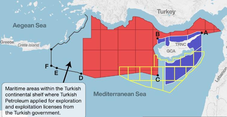 Η Τουρκία παρουσίασε επίσημα χάρτη των διεκδικήσεων εντός της ελληνικής υφαλοκρηπίδας