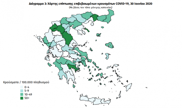 Κοροναϊός: Ο χάρτης των νέων κρουσμάτων στην Ελλάδα – Εννιά «εισαγόμενα» [γραφήματα]