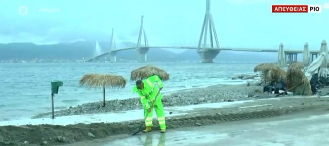 Ιανός : Πλημμύρισε η παραλία του Ρίου
