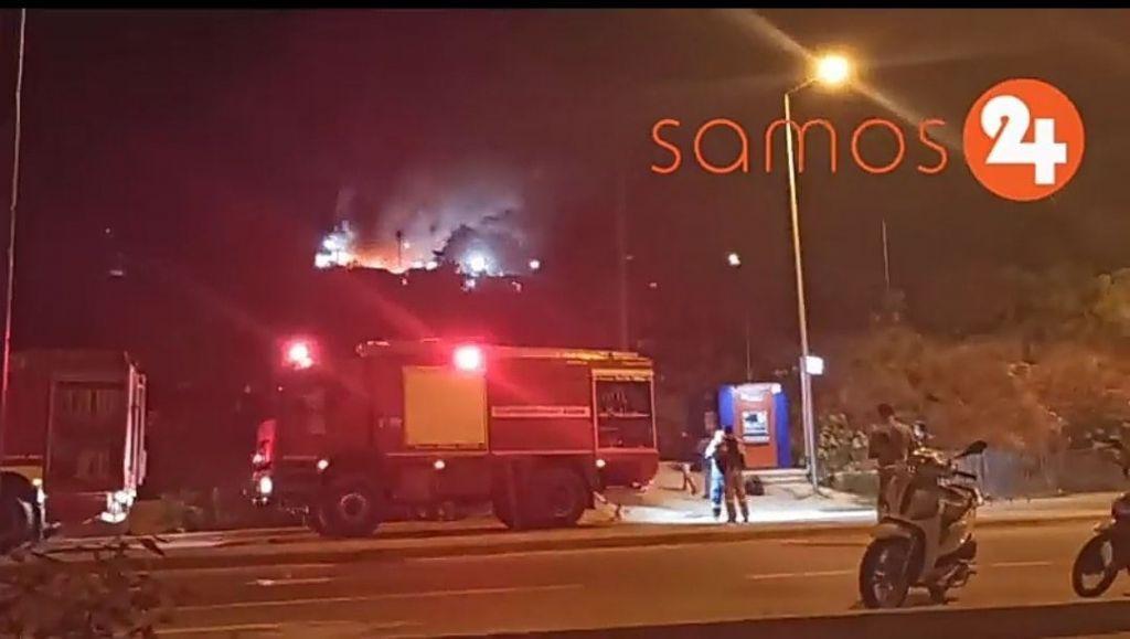 Φωτιά τώρα στο ΚΥΤ της Σάμου