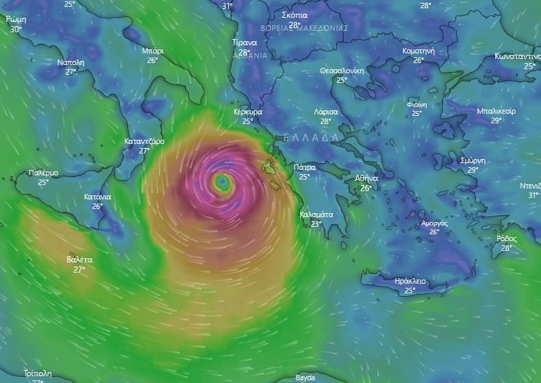 «Ιανός» : Δείτε live την πορεία του μεσογειακού κυκλώνα
