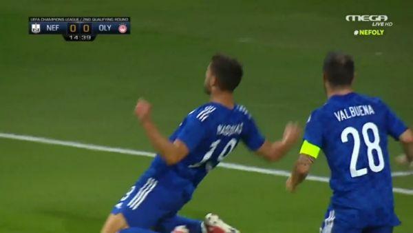 Σούπερ ασίστ Βαλμπουενά και ο Μασούρας κάνει το 1-0 για τον Ολυμπιακό