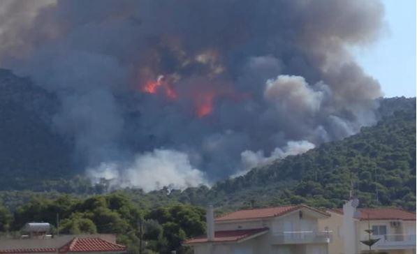 Φωτιά στην Άνω Αλμυρή Κορινθίας: Καλύτερη η εικόνα από το μέτωπο