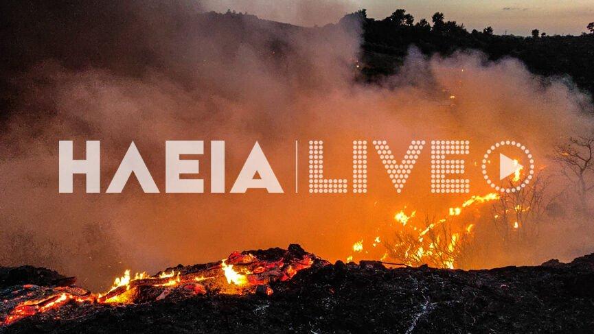 Συναγερμός για μεγάλη φωτιά στην Κορυφή Πύργου – Καίγεται δασική έκταση, ακούστηκαν εκρήξεις