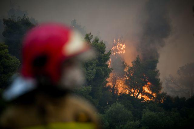 Βίλια – Στρόβιλος φωτιάς εκτοξεύει κορμό δέντρου προς τους πυροσβέστες