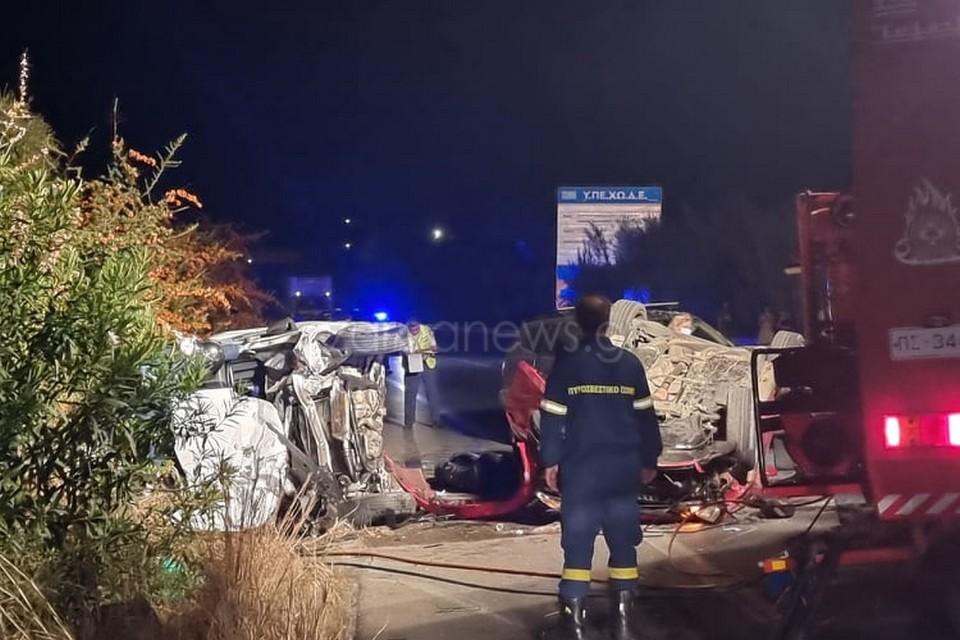Χανιά – Τροχαίο με δύο νεκρούς και τέσσερις τραυματίες – Εικόνες που σοκάρουν