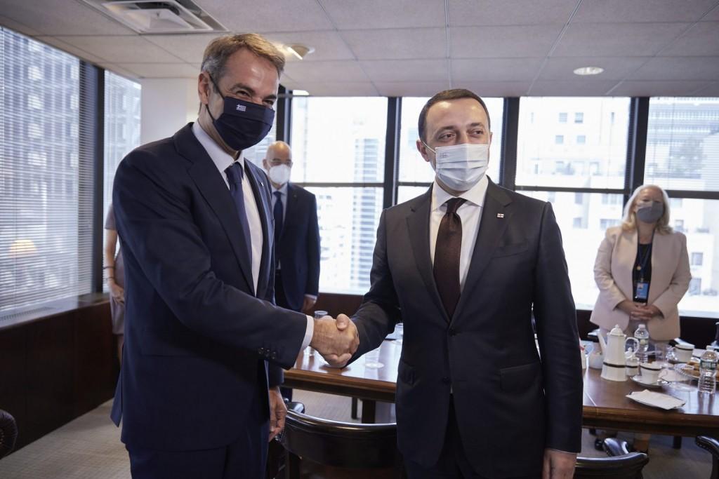 Νέα Υόρκη- Συνάντηση Κ. Μητσοτάκη με τον πρωθυπουργό της Γεωργίας