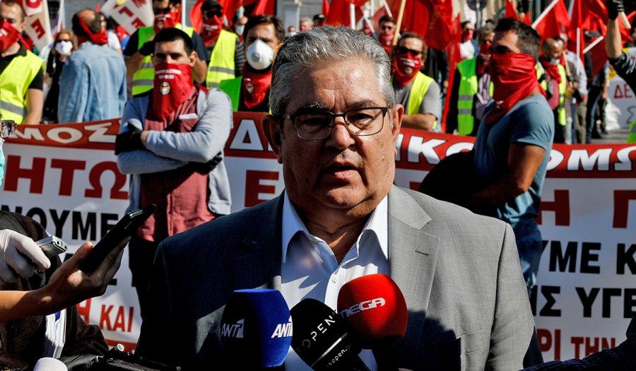 ΔΕΘ – Παρών στο συλλαλητήριο του ΠΑΜΕ ο γγ του ΚΚΕ, Δ. Κουτσούμπας
