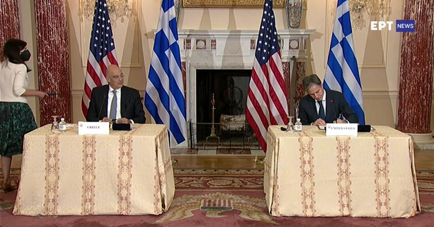 Υπογράφτηκε η συμφωνία με τις ΗΠΑ – Η Ελλάδα αντιμετωπίζει απειλεί πολέμου είπε ο Δένδιας – Το μήνυμα Μπλίνκεν