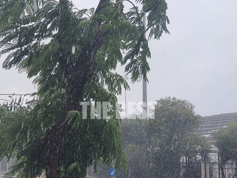 Πάτρα – Έφτασε η «Αθηνά» με βροχή και χαλάζι – Έπεσε δέντρο, γυναίκα εγκλωβίστηκε σε ασανσέρ